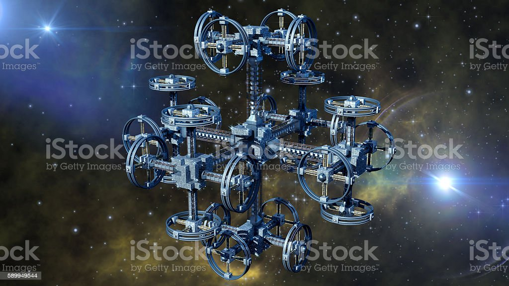 Alien spaceship in interstellar travel stock photo