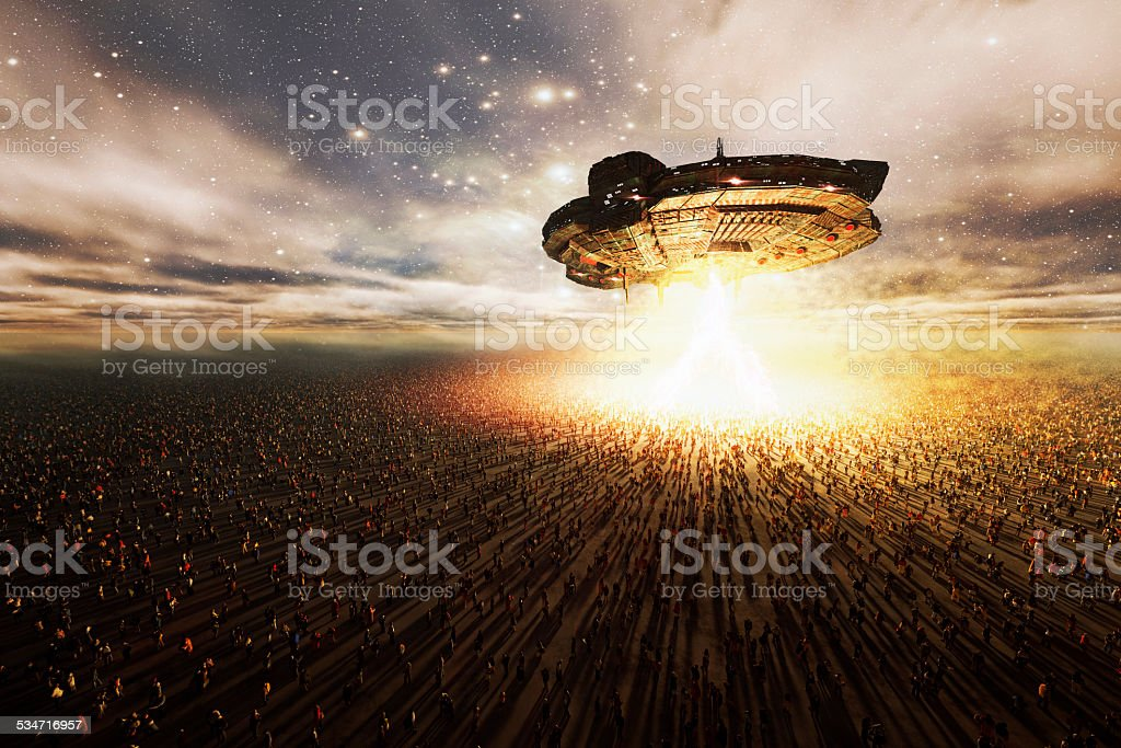 Alien UFO hovering over great masses of people, abduction, invasion stock photo