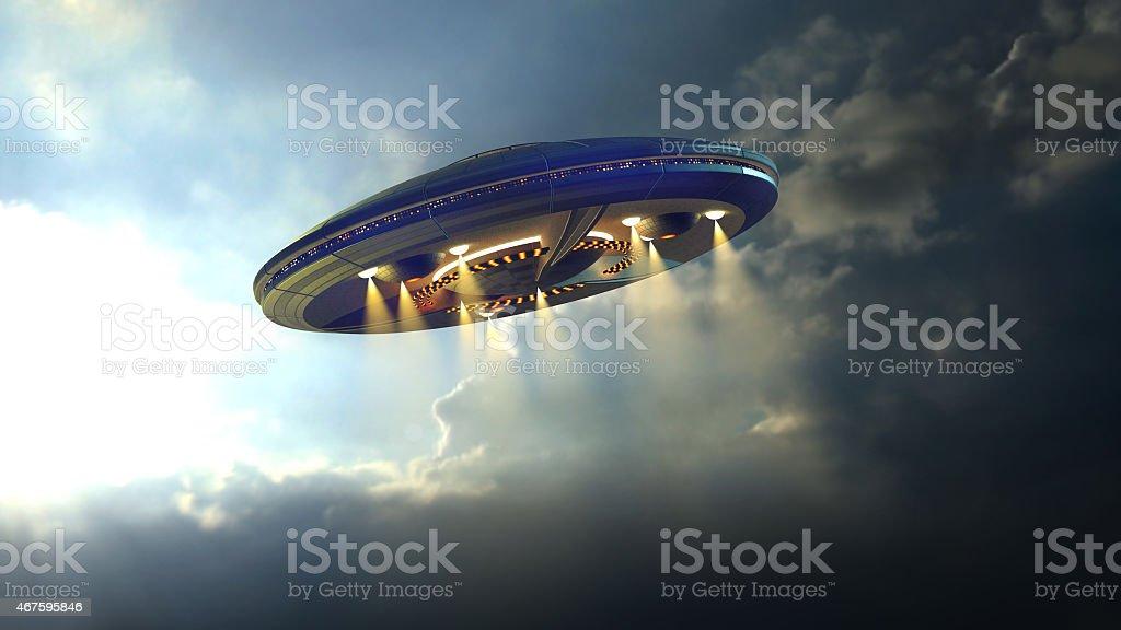 Alien UFO saucer stock photo