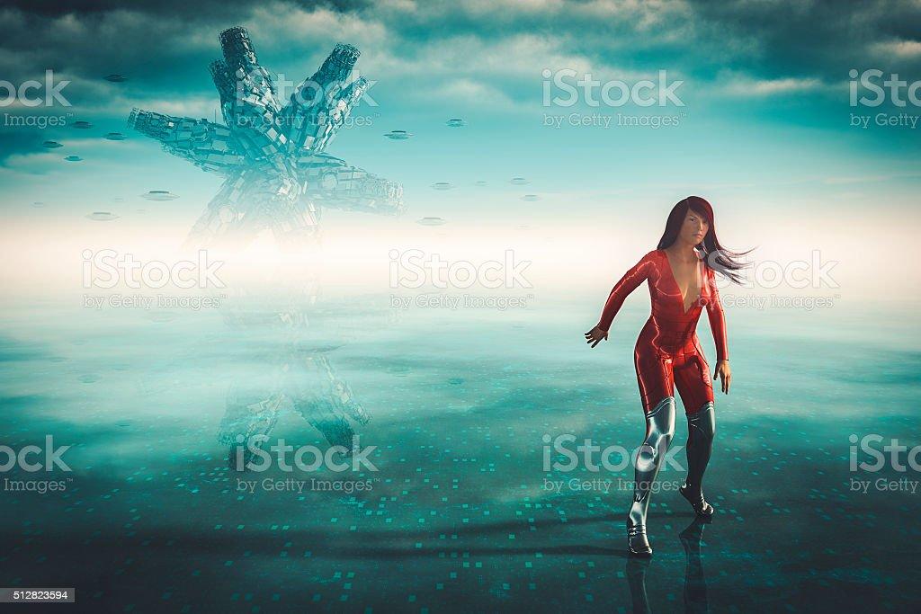 Alien UFOs attacking female superhero astronaut stock photo