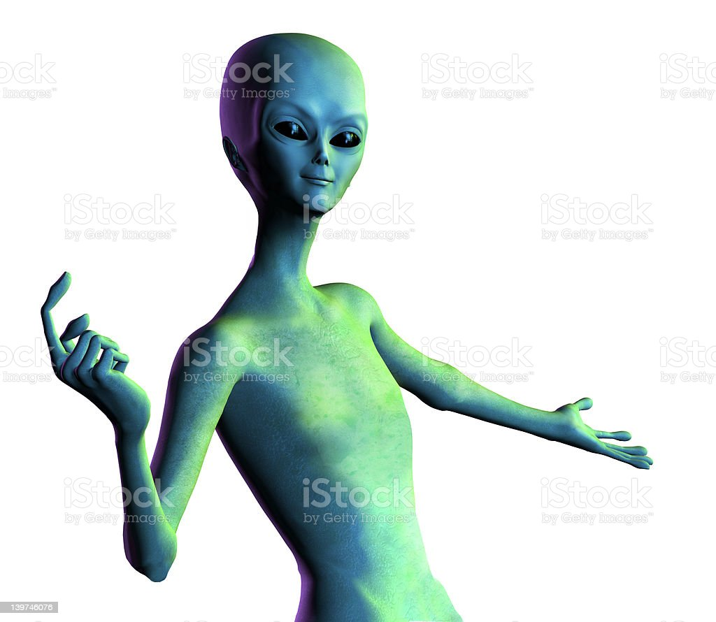 Alien Welcomes You - with clipping path stock photo