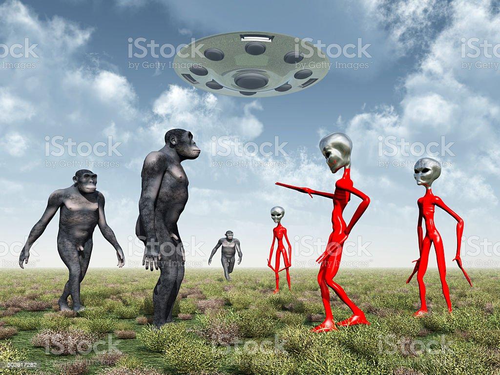 Aliens discover on Earth Homo Habilis stock photo