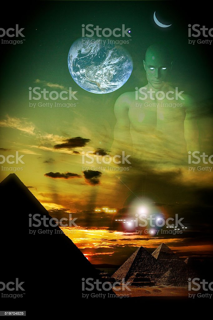 Aliens series 8: extraterrestrial landscape stock photo