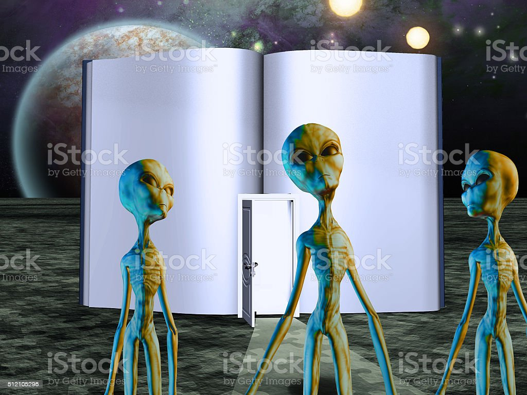 Aliens Story Book stock photo
