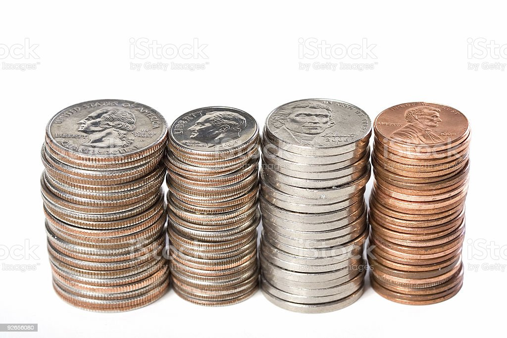 Aligned Coin Stacks royalty-free stock photo