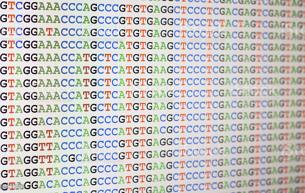 Aligned DNA sequences displayed on LCD screen stock photo