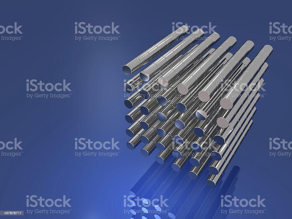 Aligned metal pellets stock photo