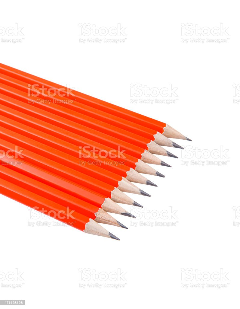 Aligned pencils stock photo