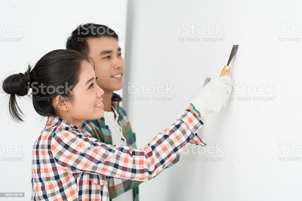 Aligning a wall stock photo