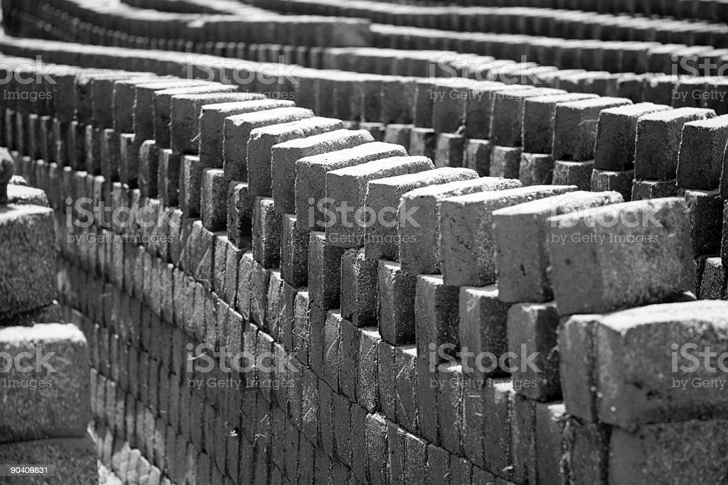alignment captured in sun drying mud bricks stock photo