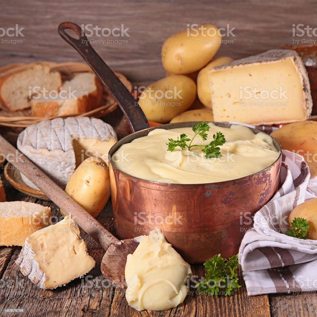 aligot,cheese fondue stock photo