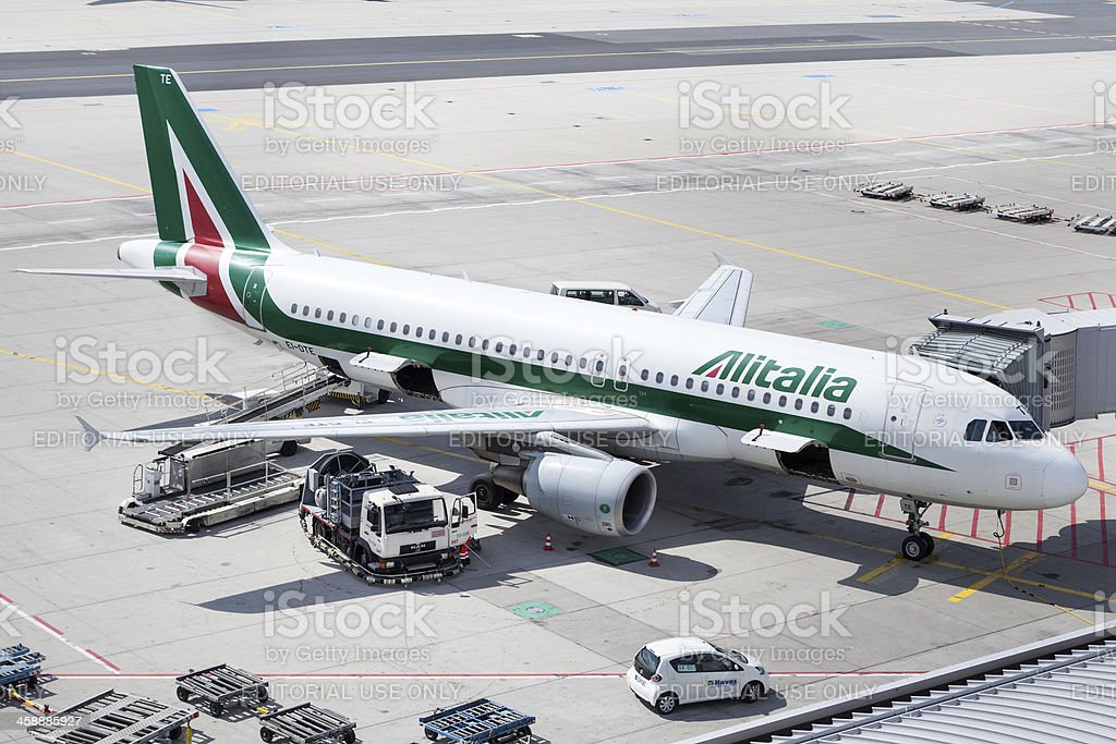 Alitalia Airbus A320 at Frankfurt Airport stock photo