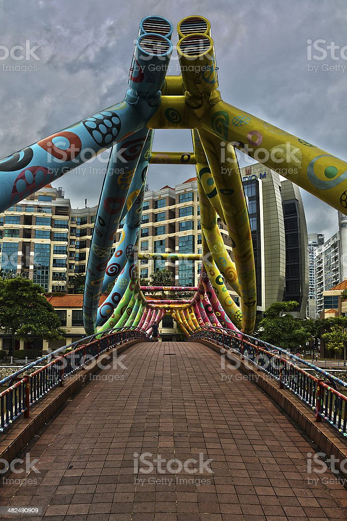 Alkaff Bridge, Robertson Quay, Singapore stock photo