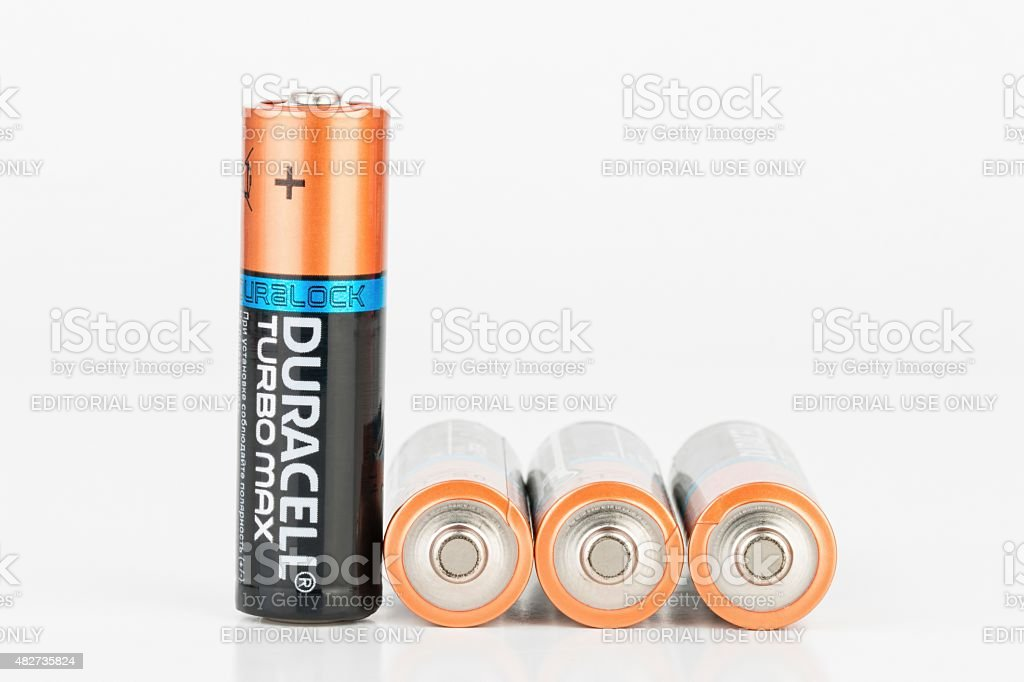 Alkaline AA battery. stock photo
