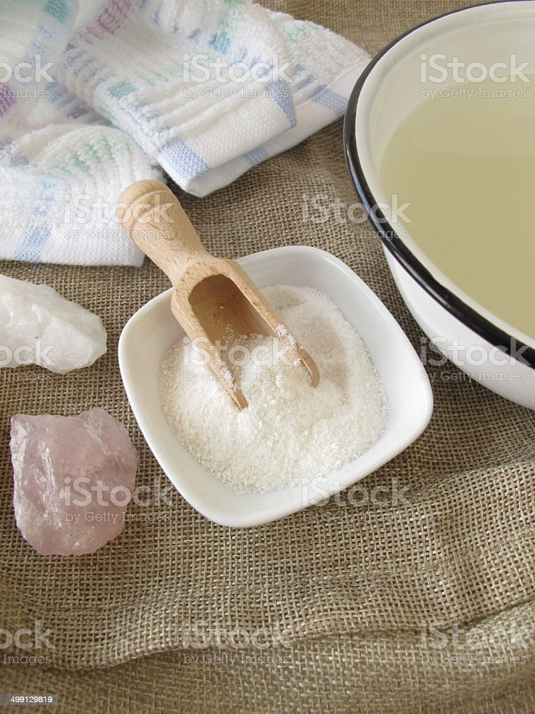 Alkaline bath salt stock photo