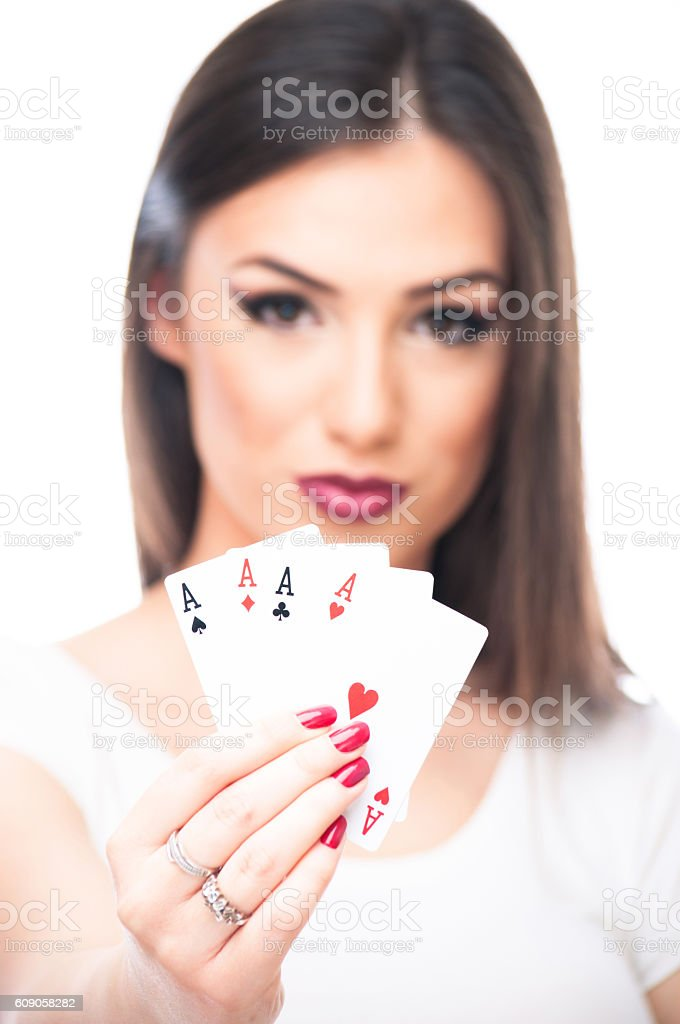 All aces in my hand stock photo
