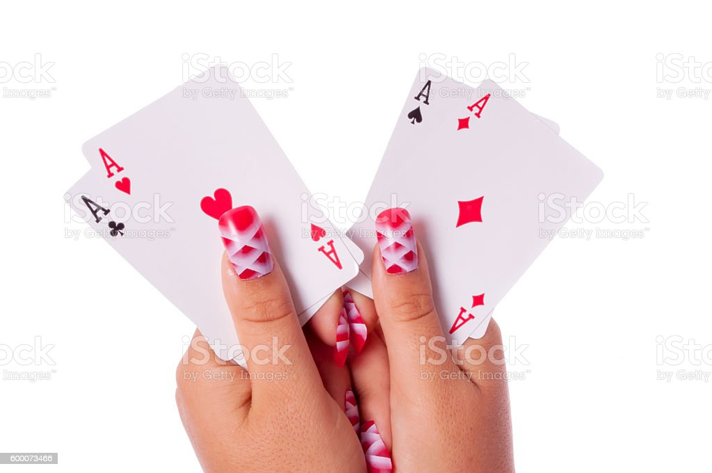 All aces in my hands stock photo