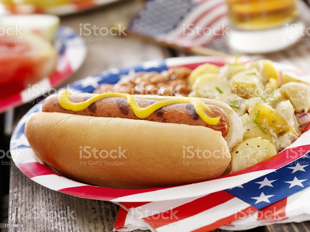 All American Hotdog and a Beer stock photo