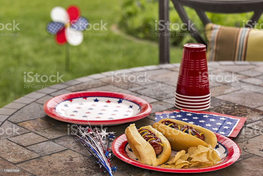All American hotdogs at a cookout stock photo
