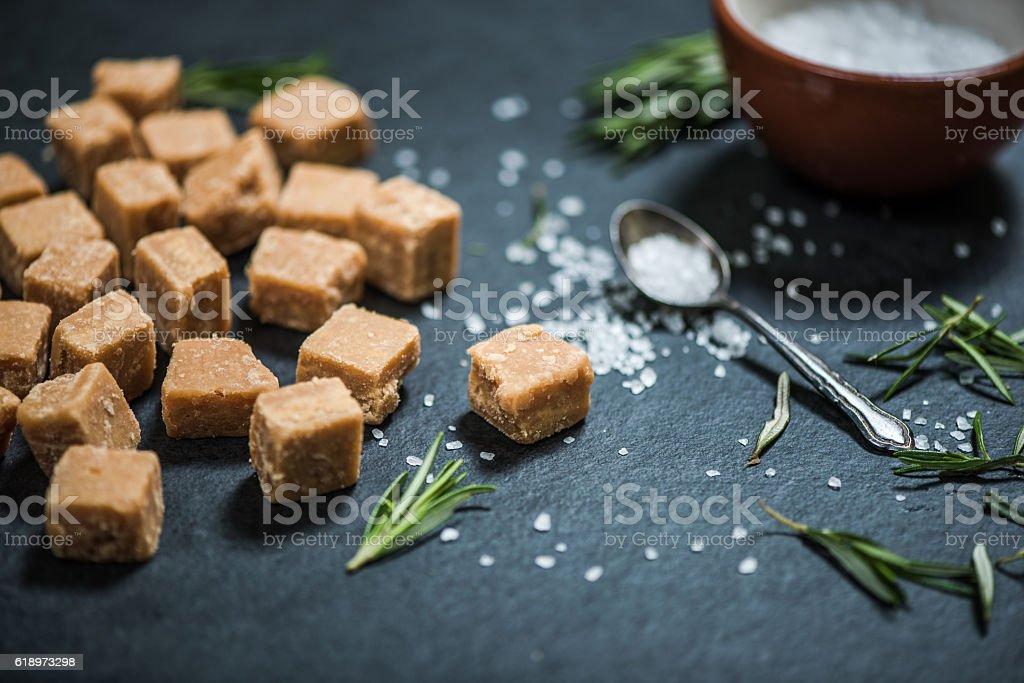 all butter fudge on dark slate stock photo