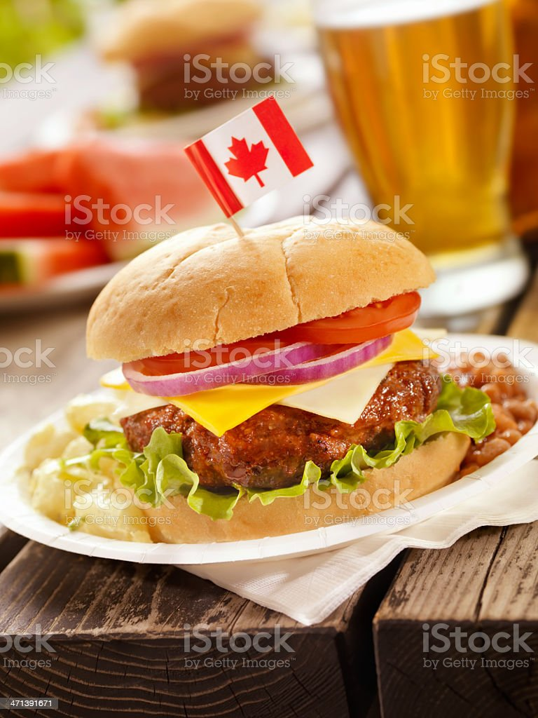 All Canadian Cheeseburger and a Beer royalty-free stock photo
