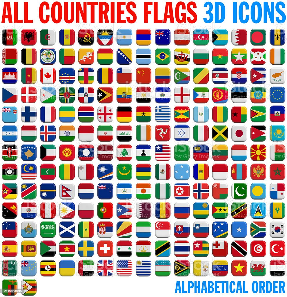 All country flags complete set stock photo