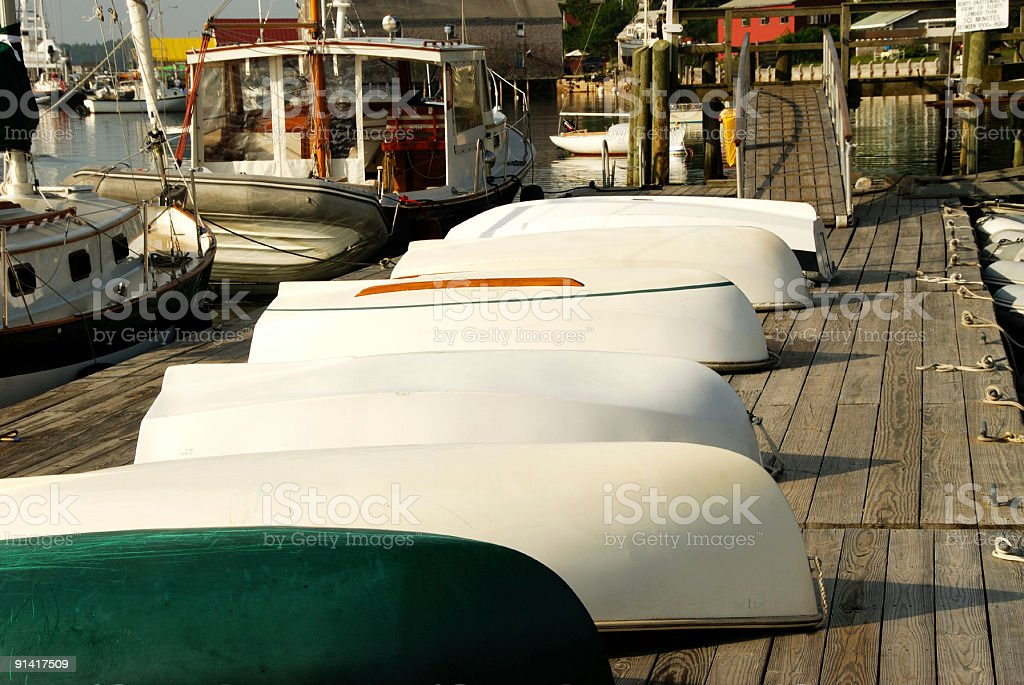 All Dinghies on Deck stock photo
