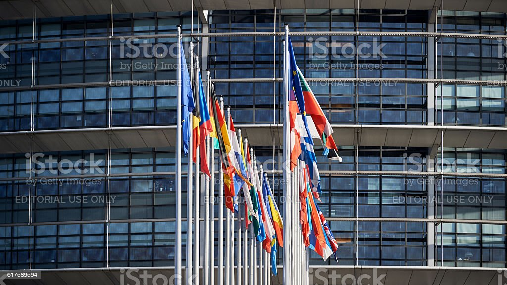 All European Union Flags Strasbourg Strasbourg stock photo