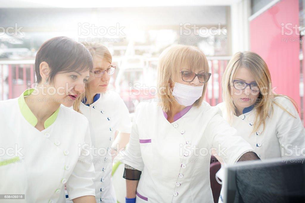 All female dental team stock photo