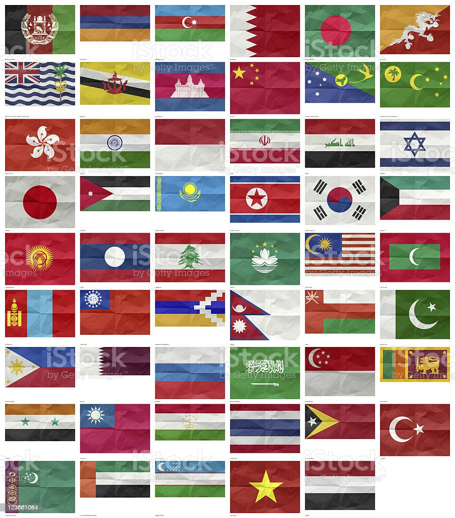 All Flags of Asia stock photo