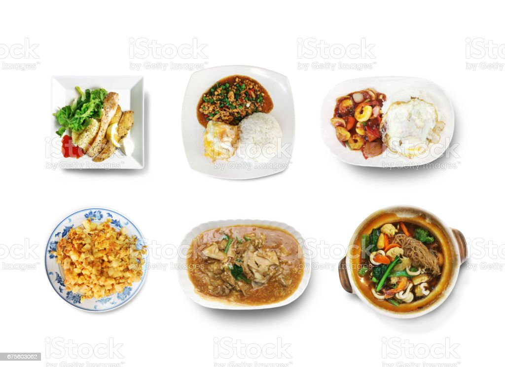 All food combination on white background stock photo