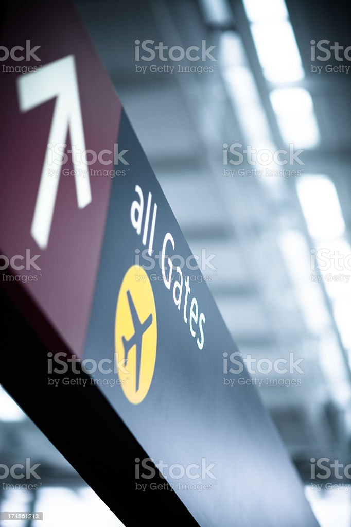 All Gates Airport Sign royalty-free stock photo