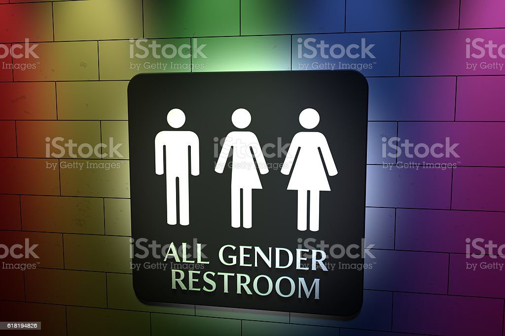 All Gender Restroom - Rainbow Lights stock photo