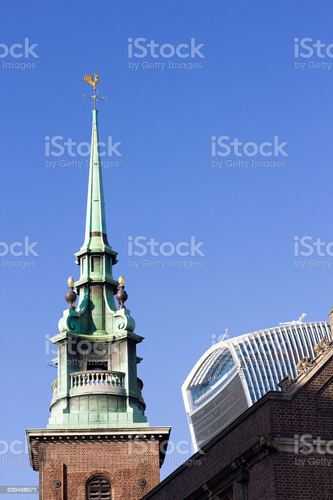 All Hallows-by-the-Tower in Byward Street, London stock photo
