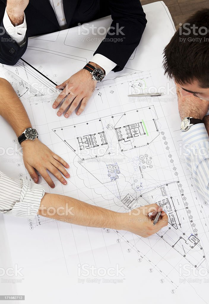 All hands at work. Top View. Real Estate Business Developers. royalty-free stock photo