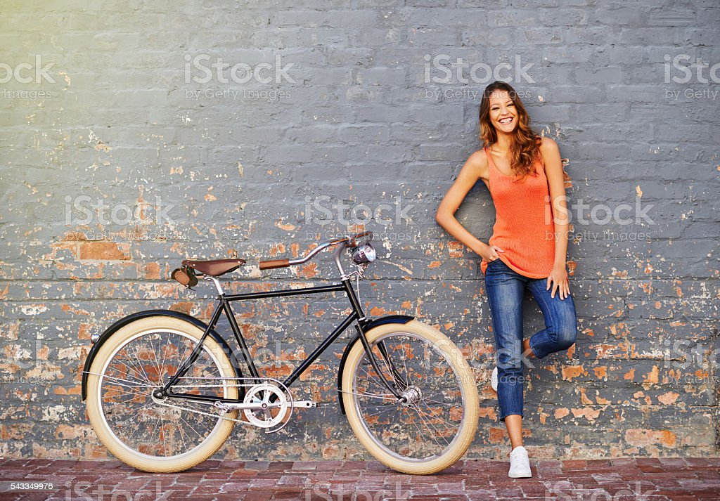 All I need is my bike and a little sunshine stock photo