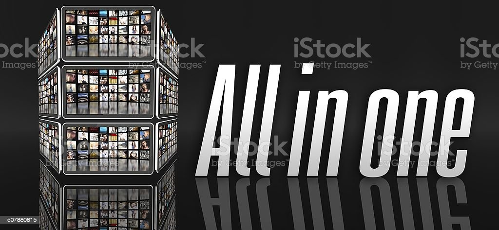 All in one device concept, tablets or LCD panels stock photo