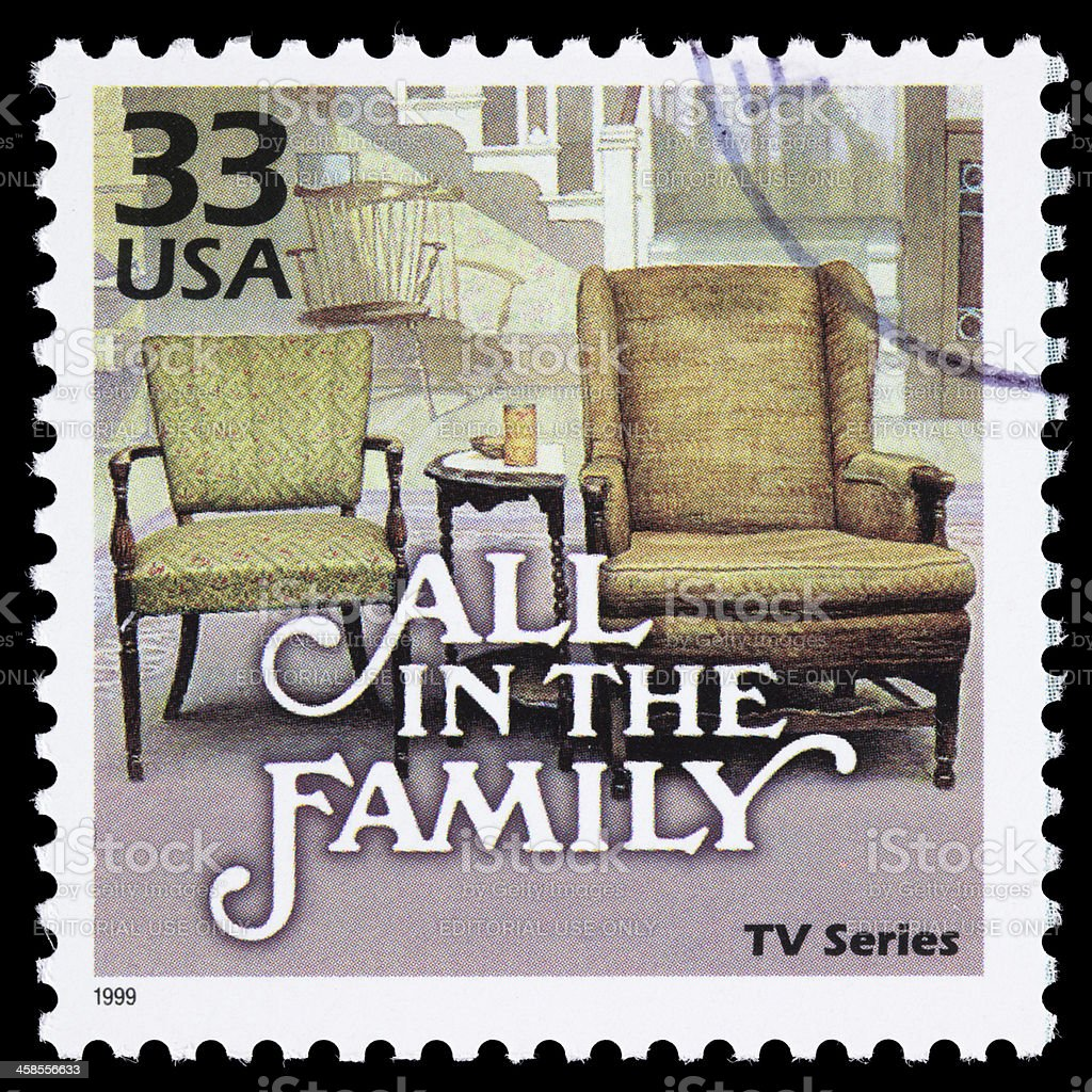 USA All in the Family postage stamp stock photo