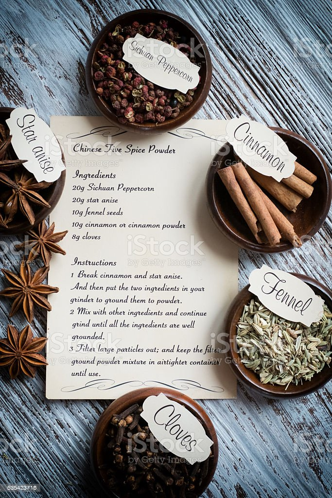 All ingredients with Instructions for Chinese Five Spice Powder stock photo