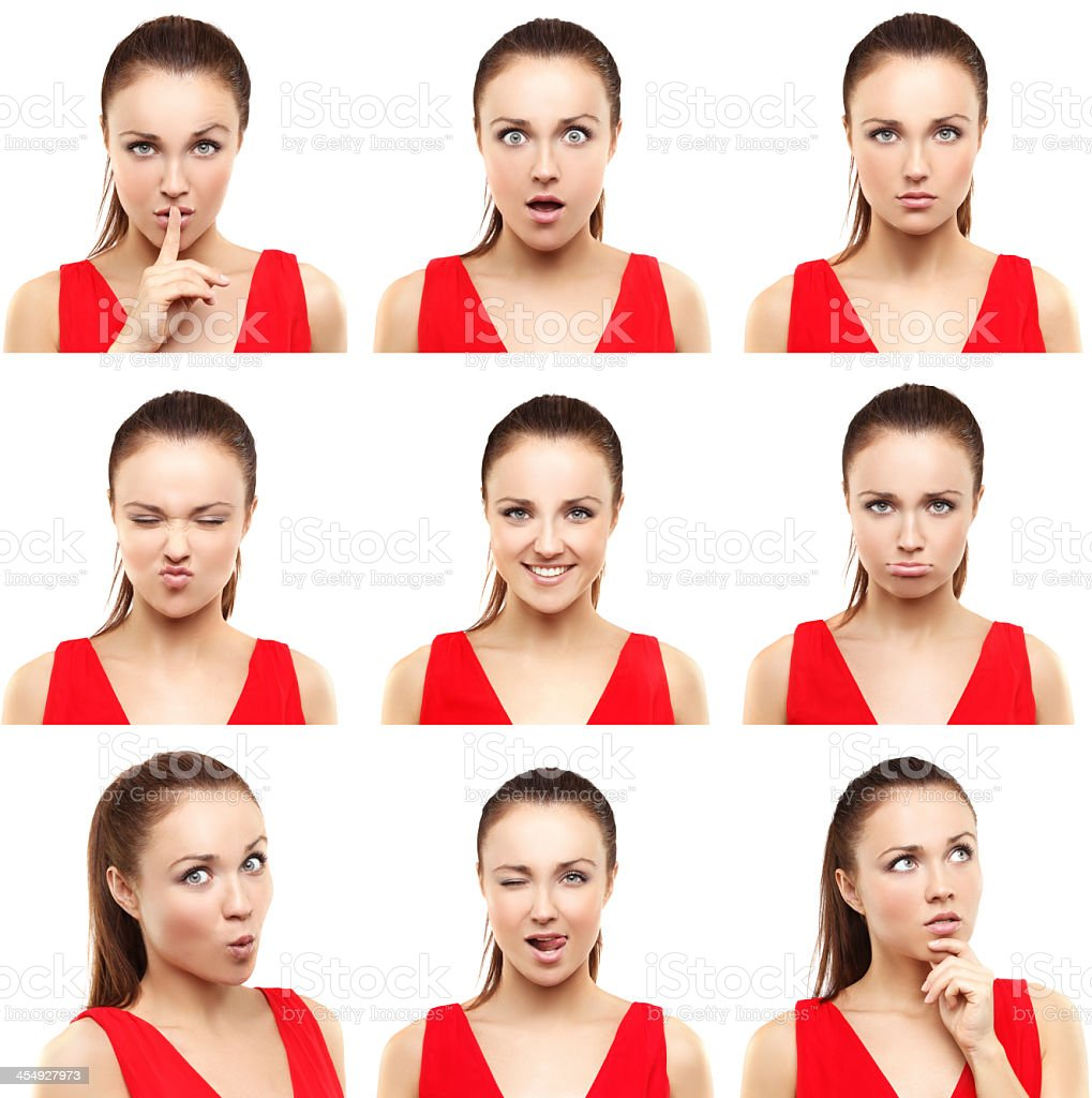 All kinds of facial expressions is displayed by this woman stock photo
