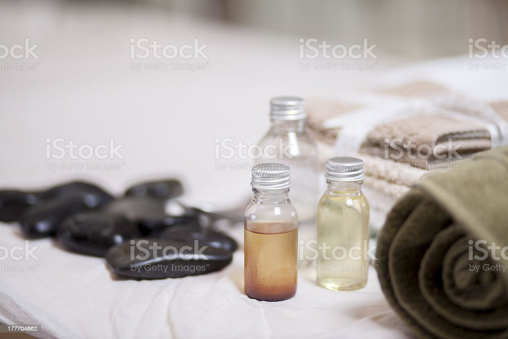 All materials ready for a massage stock photo