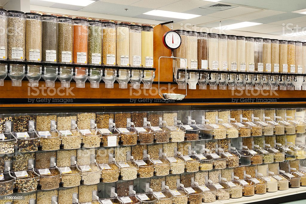 All Natural Bulk Food Dispensers stock photo