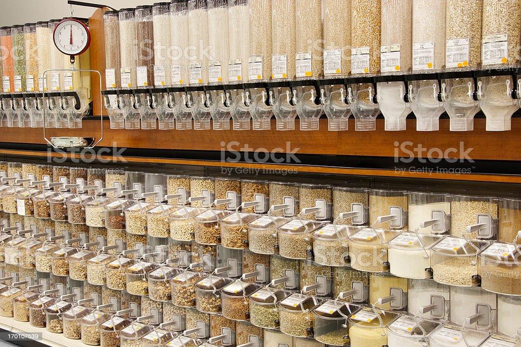 All Natural Bulk Food Dispensers royalty-free stock photo