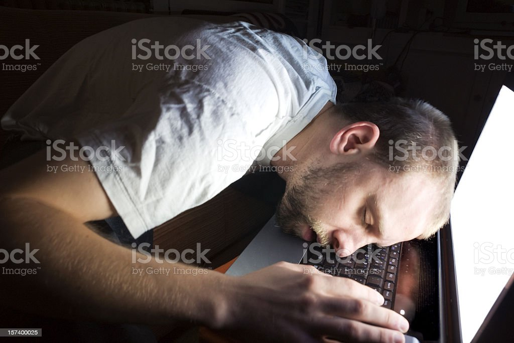 All Nighter - Man Asleep on Computer royalty-free stock photo