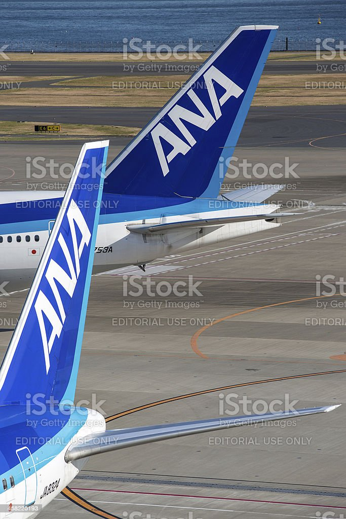 All Nippon Airways airplane tails royalty-free stock photo