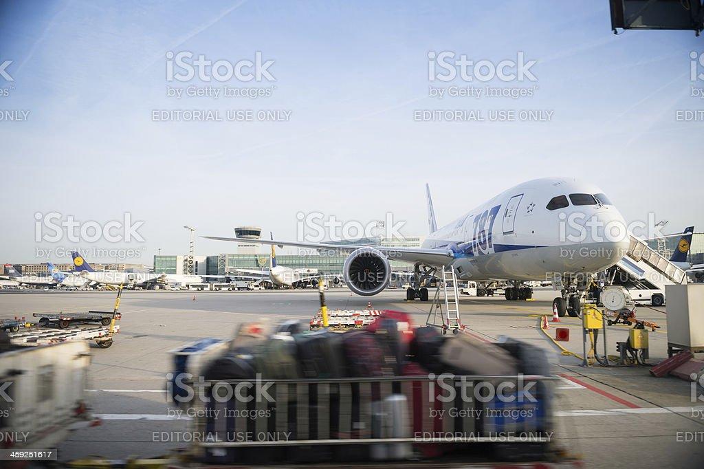 All Nippon airways ANA Boeing 787 Dreamliner at Frankfurt Airport royalty-free stock photo