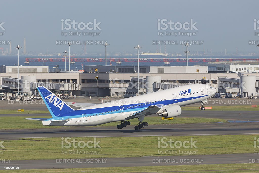 All Nippon Airways Boeing 777-200ER royalty-free stock photo