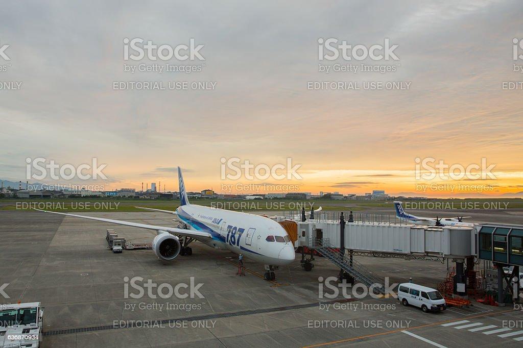 All Nippon Airways Boeing 787 Dreamliner in Japan stock photo