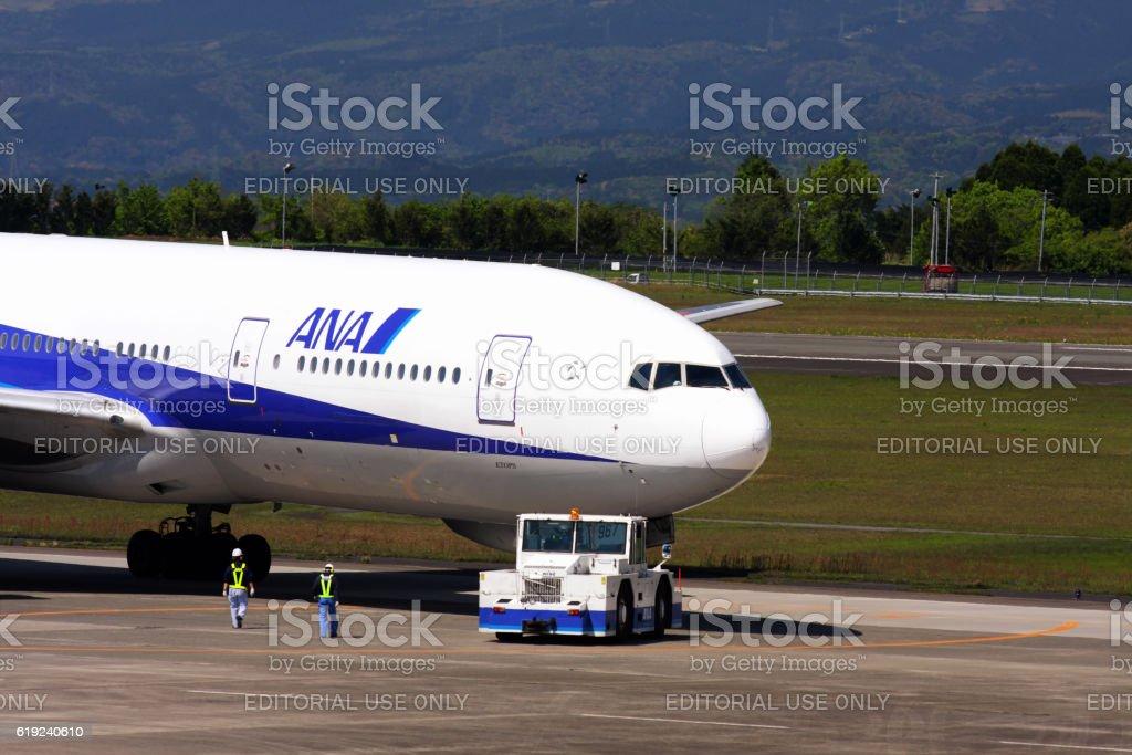 All Nippon Airways (ANA) jet airplane at Kagoshima Airport stock photo