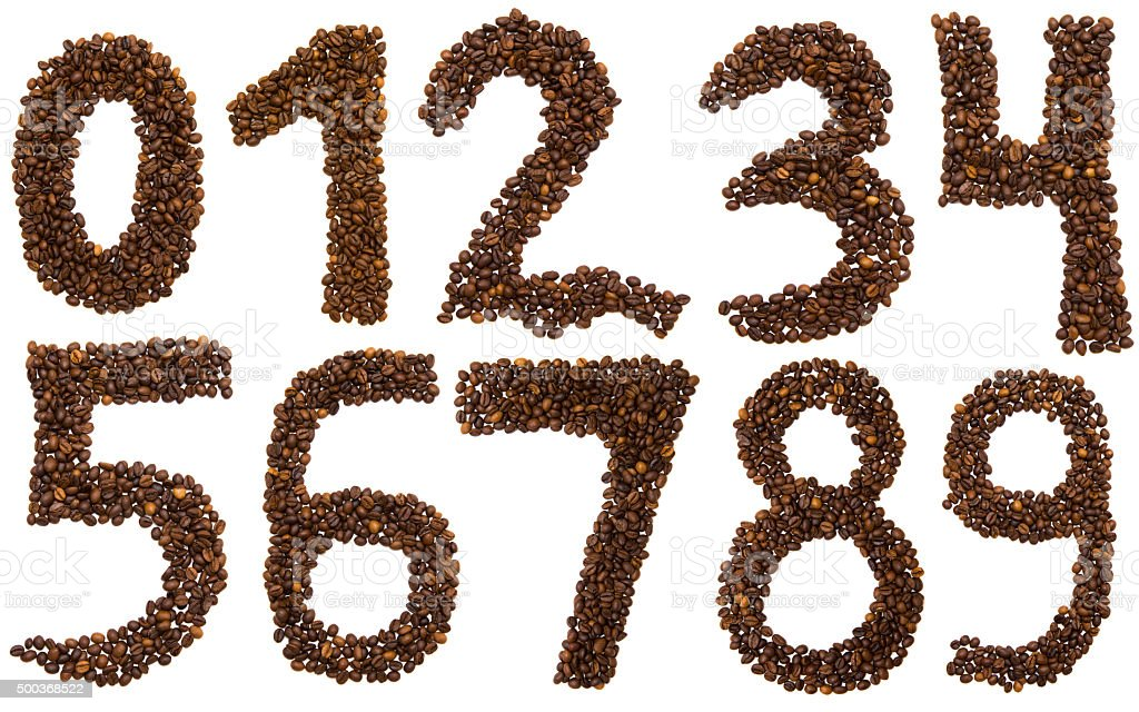 all numbers of coffee beans stock photo